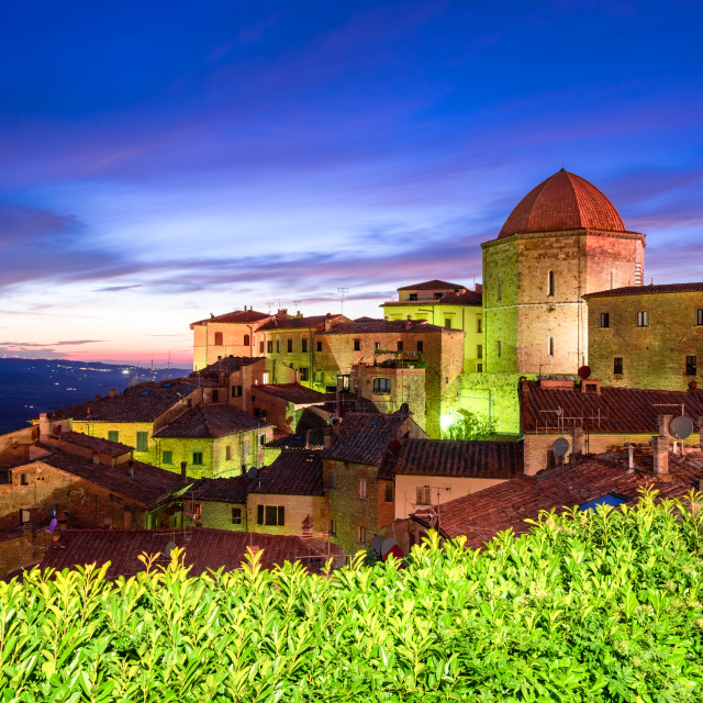 """""""Volterra, Tuscany - Nightscene panoramic view of old Tuscan town in Italy."""" stock image"""