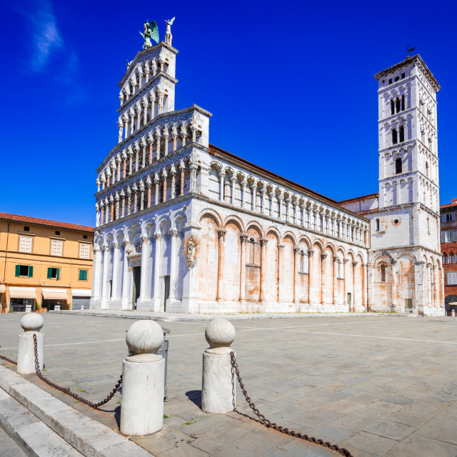 """""""Lucca, Italy - Chiesa di San Michele, Tuscany scenic background"""" stock image"""