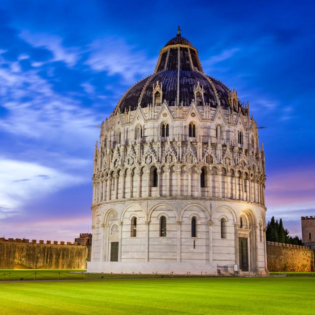 """""""Pisa, Italy - Baptistery and Campo dei Miracoli, Tuscany scenics."""" stock image"""