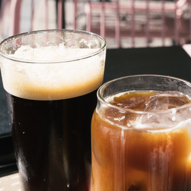 """""""Two Glasses of Cold Brew Coffee, one of them with nitro ant the other with milk"""" stock image"""