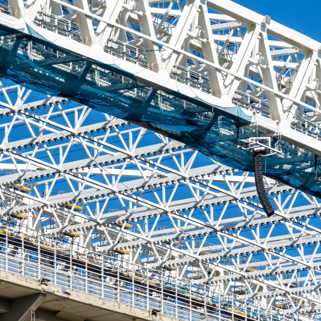 """""""Structural detail in steel with joints between metal profiles"""" stock image"""
