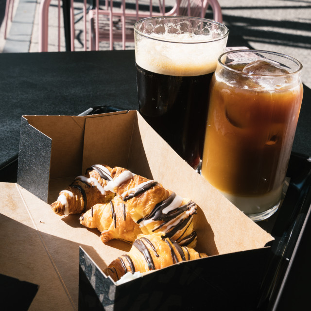 """""""Two Glasses of Cold Brew Coffee and croissants"""" stock image"""