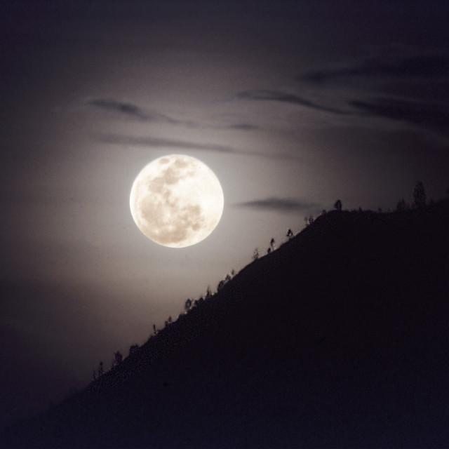 """Full Moon over Mt. Batur"" stock image"
