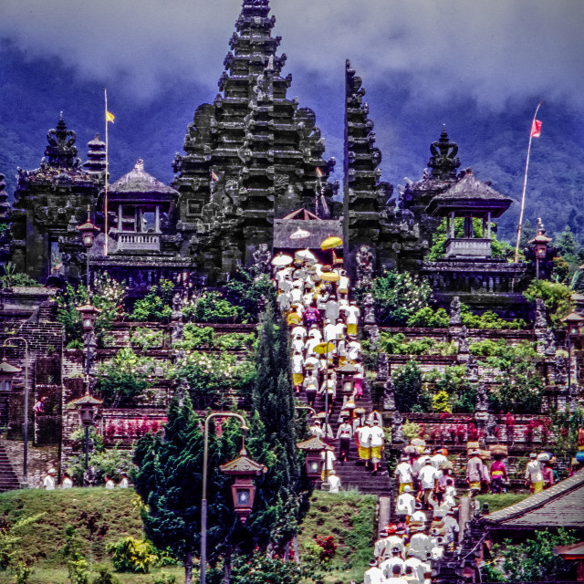 """""""Besakih temple with procession"""" stock image"""