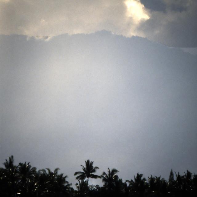 """Palms, Mountain, Sky,, South China Sea"" stock image"