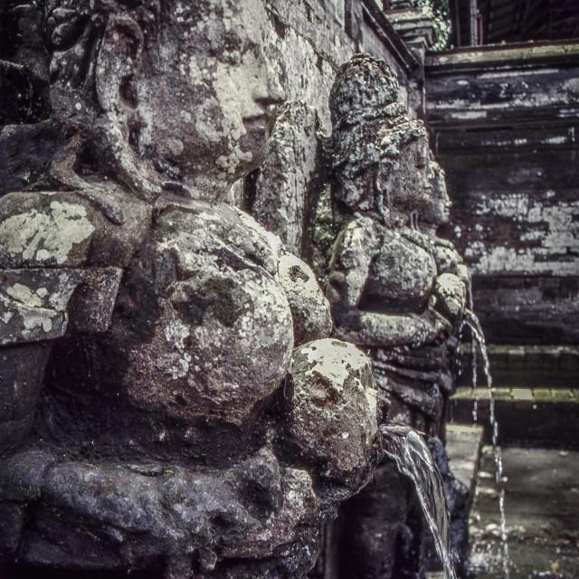 """Goa Gajah temple fountain figures"" stock image"