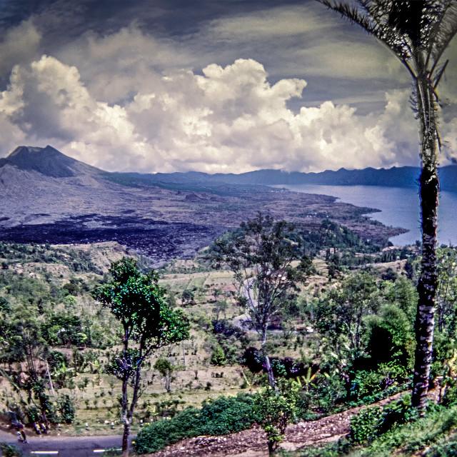 """Mount & Lake Batur. - fisheye view of extinct volcano lake"" stock image"