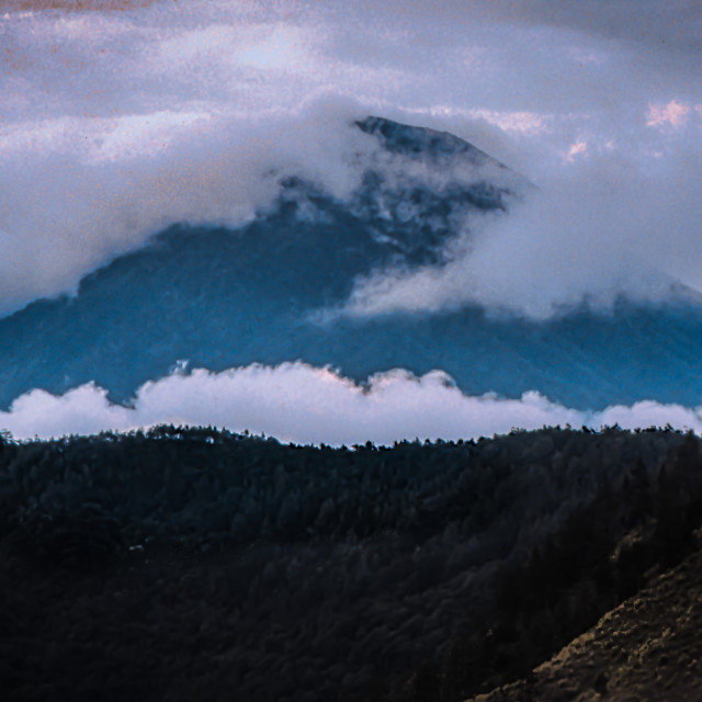 """""""Mt. (Gunung) Agung with trees & clouds"""" stock image"""