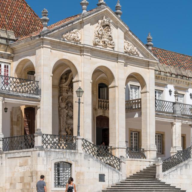 """Tourists visiting Coimbra University"" stock image"
