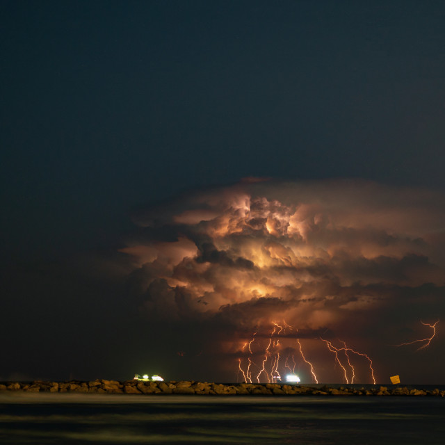 """Lightning over the horizons"" stock image"