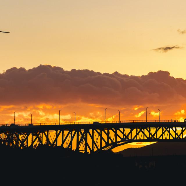 """Vancouver bridge during sunset"" stock image"