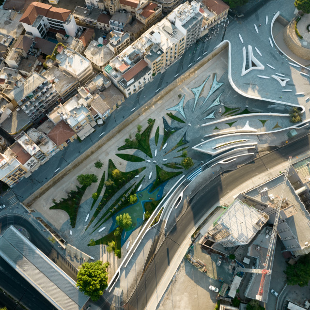 """""""Aerial view Nicosia cityscape the capital city of Cyprus and Eleftheria square with modern futuristic architecture."""" stock image"""