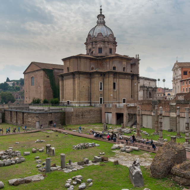 """""""Cityscape image of famous ancient roman forum in Rome, Italy."""" stock image"""