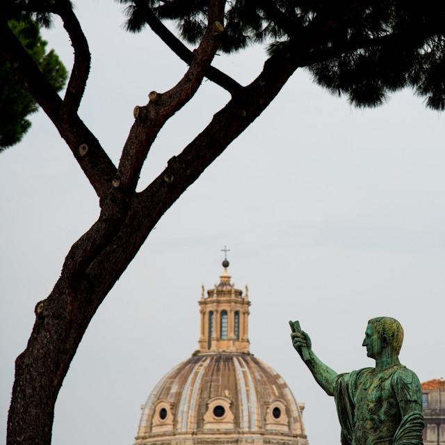 """""""Bronze Statue of Nero Claudius Caesar Augustus Germanicus. Trajan's Forum, Rome, Italy"""" stock image"""