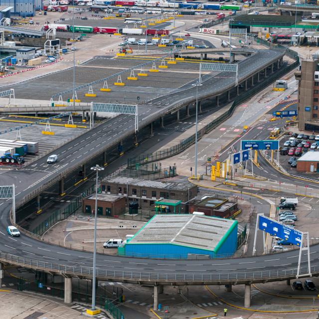 """Trucks on Dover docks station before the customs to tranfer goods to France."" stock image"