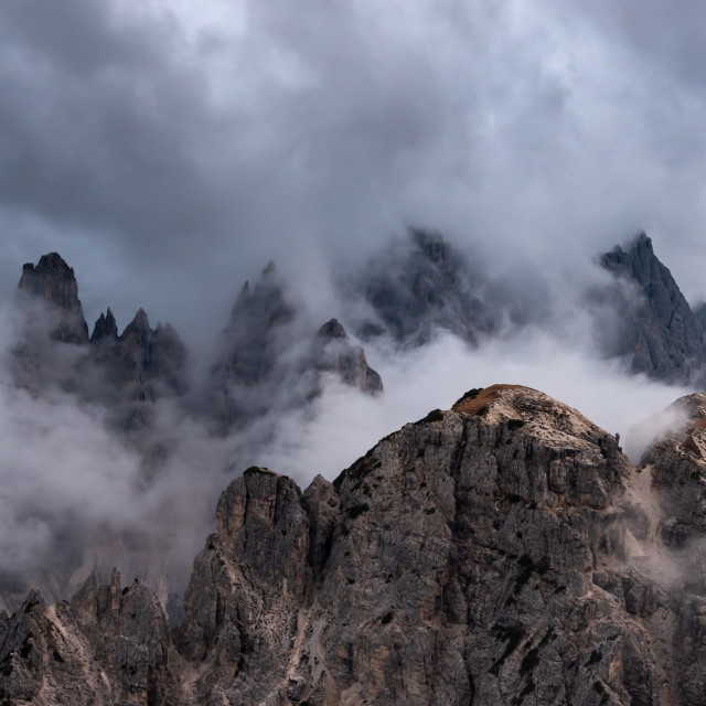 """""""Mountain landscape with mist, at sunset. at Tre Cime di lavaredo, Italian dolomites a in South Tyrol in Italy."""" stock image"""
