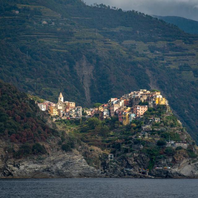 """Casa Belsito italian village of at the edge of a rocky cliff, Cinque Terre Liguria, Italy"" stock image"