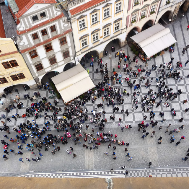 """""""Tourists at the historical centre of Prague and traditional buildings below the astronomical clock. Czech Europe"""" stock image"""
