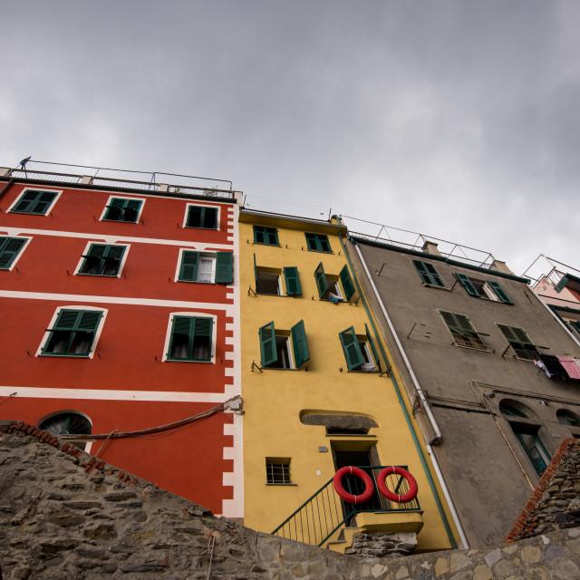 """Colorful houses at the village of Manarola Cinque Terre, Liguria, Italy"" stock image"