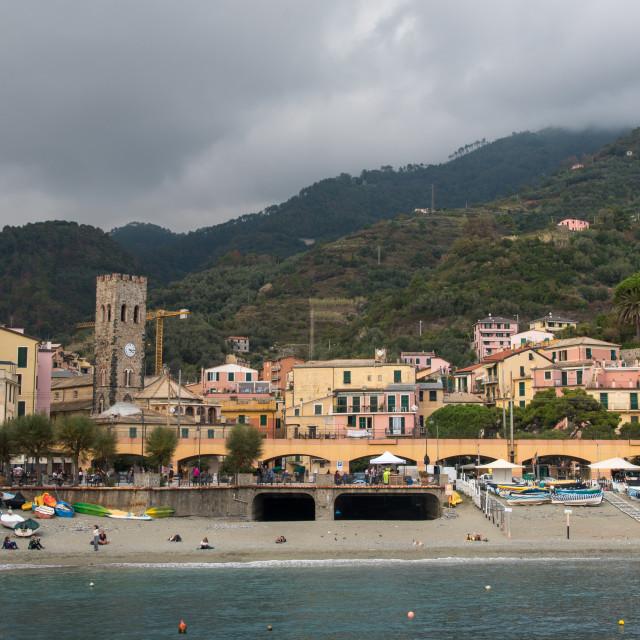 """""""The coastline of Monterosso touristic village at cinque terre, riomaggiore liguria, Italy"""" stock image"""