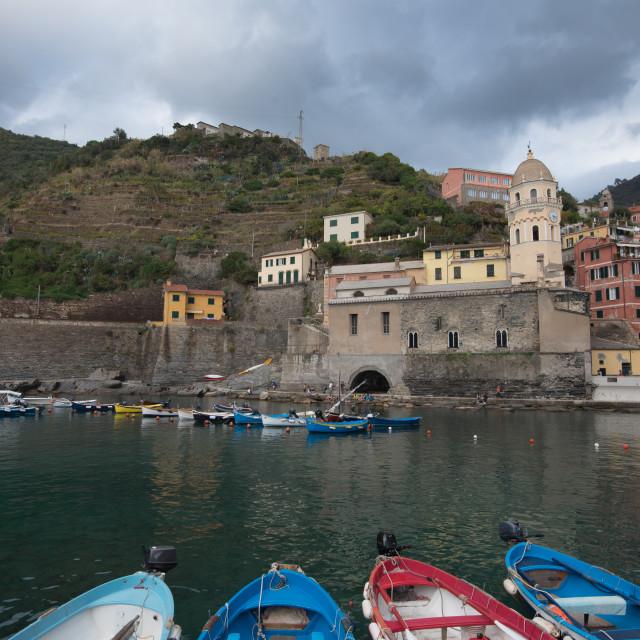 """Fishing port with boats at the Village of Vernazza Riomaggiore, Cinque Terre, Liguria, Italy"" stock image"