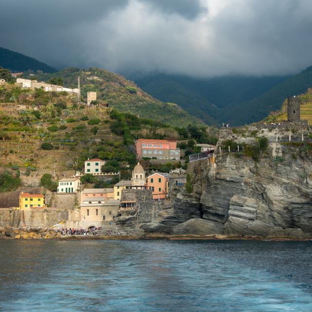 """""""Village of vernazza at the edge of the cliff Riomaggiore, Cinque Terre, Liguria, Italy"""" stock image"""