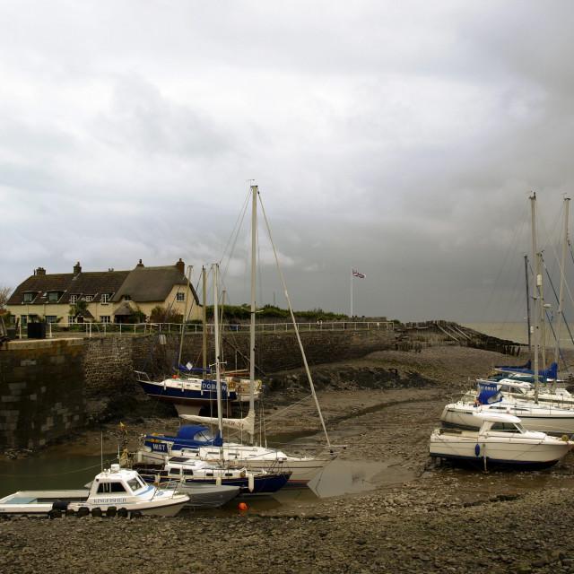 """Porlock Weir Harbour"" stock image"