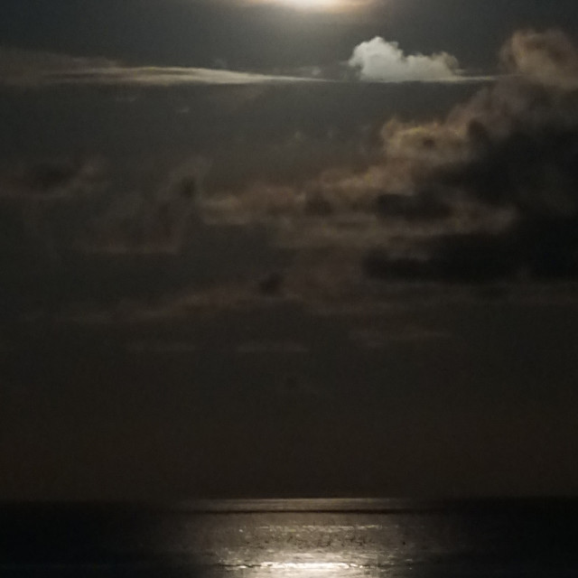 """Moonrise over the Caribbean Sea"" stock image"
