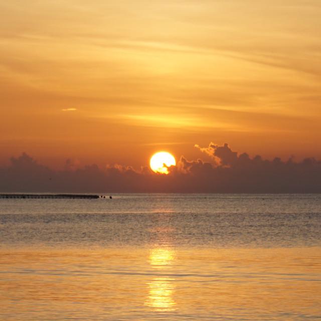 """Sunrise at Playa del Carmen"" stock image"