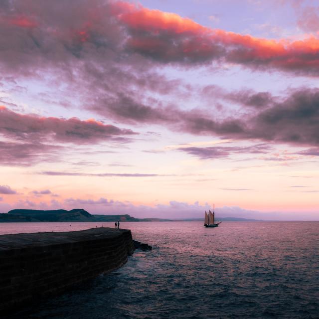 """Smooth Seas at Sunset"" stock image"