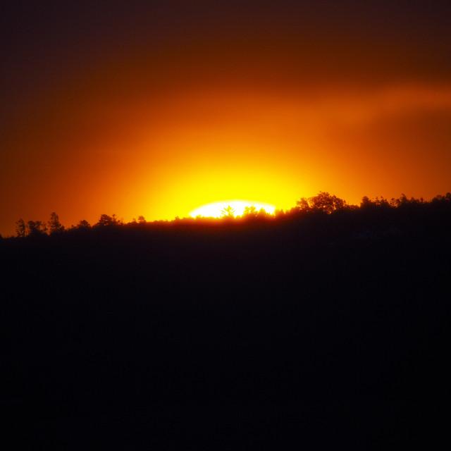"""""""Red Sunrise over the Black Isle, Scottish Highlands"""" stock image"""
