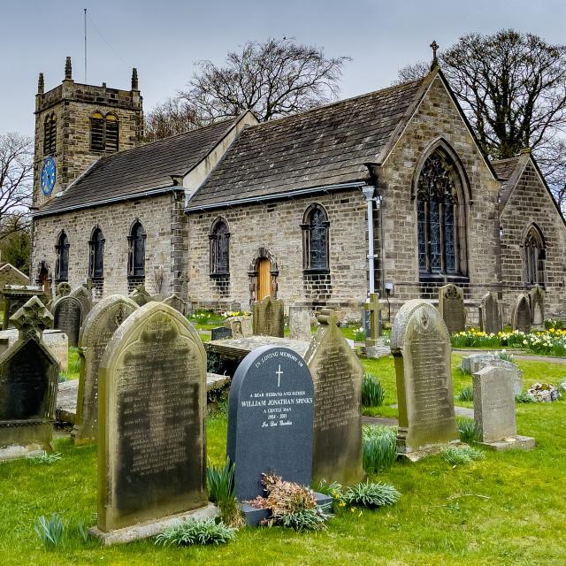 """Addingham Church, St Peter, Wharfedale, Yorkshire."" stock image"