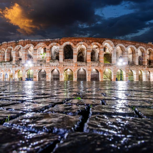 """Verona, Italy - Piazza Bra and ancient Arena"" stock image"