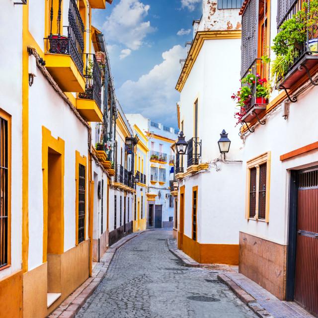 """Cordoba, Andalusia, Spain - Medieval downtown street"" stock image"