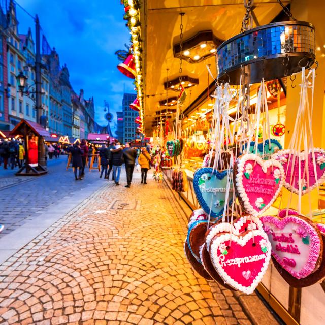 """Wroclaw, Poland - Christmas Market, medieval polish square."" stock image"