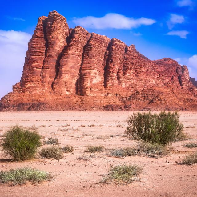 """Jordan. Wadi Rum. Seven Pillars of Wisdom rocky mountain"" stock image"