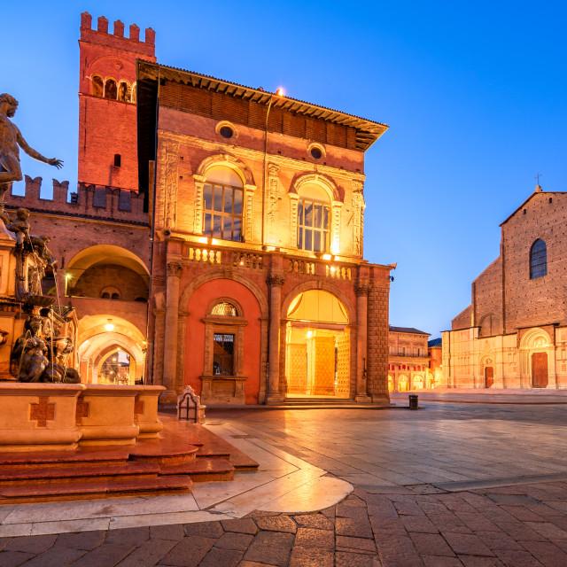 """""""Bologna, Italy - Neptune Fountain and Piazza Maggiore"""" stock image"""