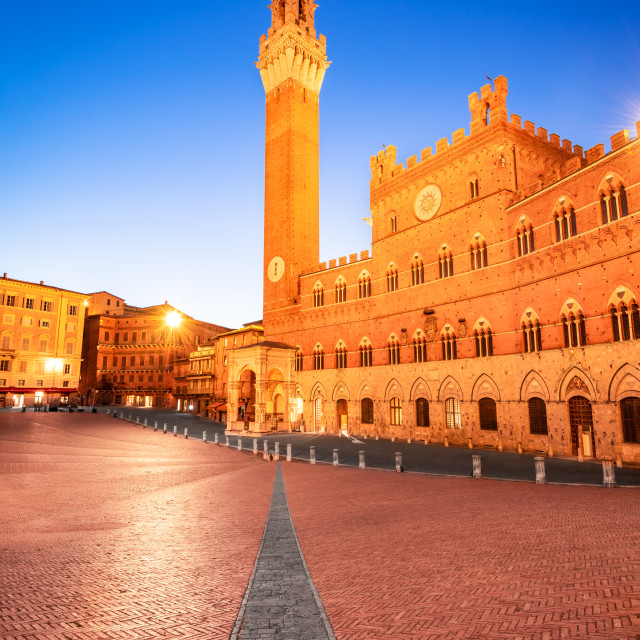 """""""Siena, Italy - Campo Square and the Mangia Tower"""" stock image"""