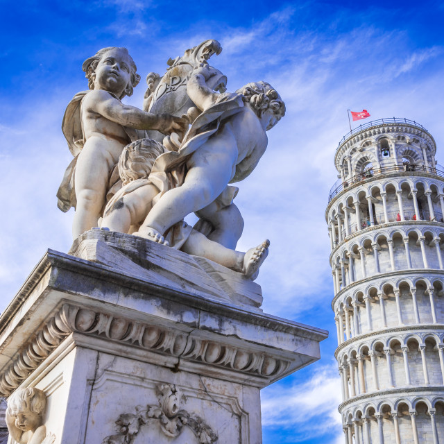 """""""Pisa, Leaning Tower and Putti Fountaind - Italy, Tuscany."""" stock image"""