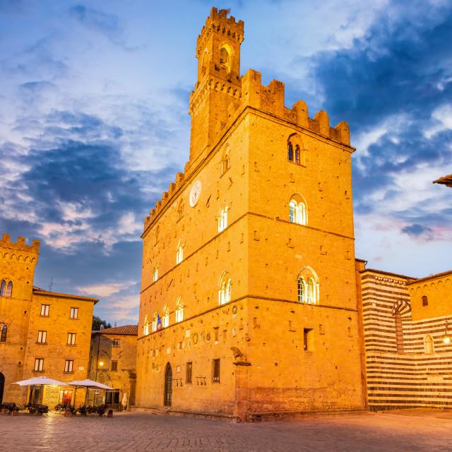 """""""Volterra, Tuscany - Piazza dei Priori sunrise twilight."""" stock image"""