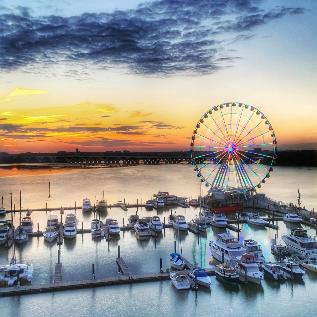 """""""National Harbor at Sunset"""" stock image"""