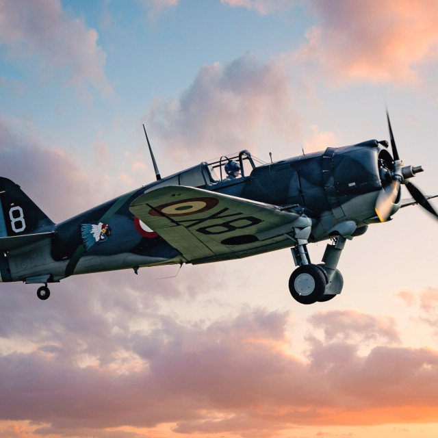 """""""Curtiss Hawk H 75A1 FAF GC2 5 X881 at Sunset over Duxford, UK."""" stock image"""