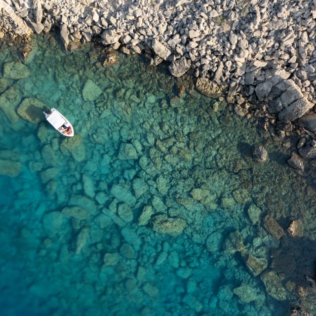"""Drone aerial photograph of Cape Greko peninsulas. Boat in the ocean"" stock image"
