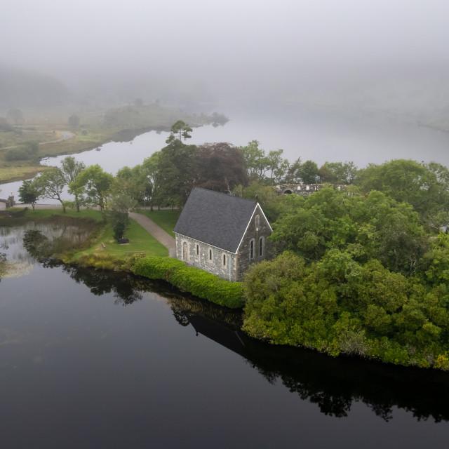 """Aerial drone photo of St. Finbarr's Church, Gougane Barra, West ireland"" stock image"