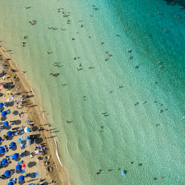"""""""Aerial drone photograph of fig tree bay beach. Summer vacations cyprus."""" stock image"""