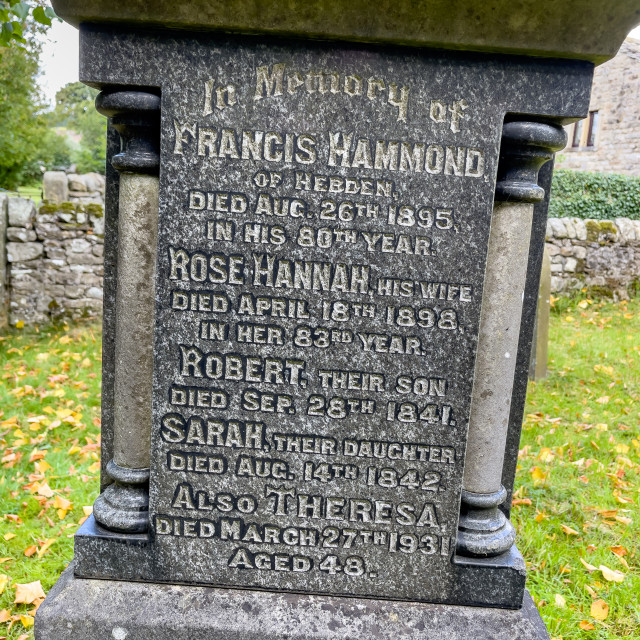 """""""Memorial, Hammond and Family, Hebden, Yorkshire Dales."""" stock image"""