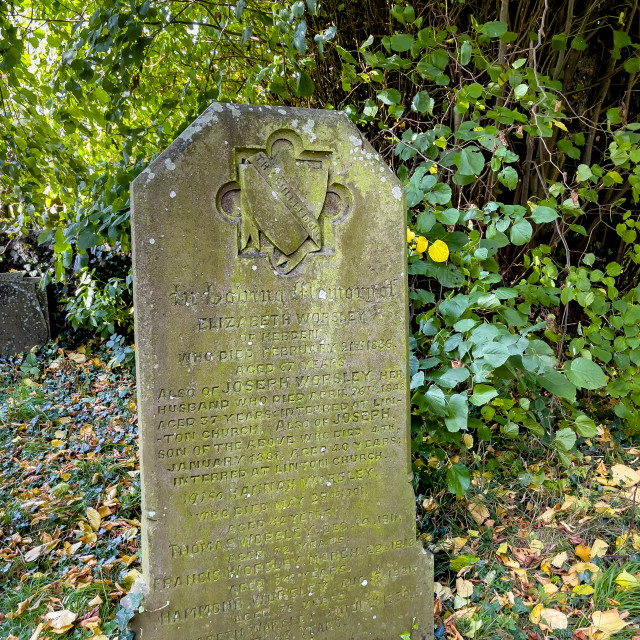 """""""Headstone, Worsley Family, St Peter's Church, Hebden, Yorkshire Dales."""" stock image"""