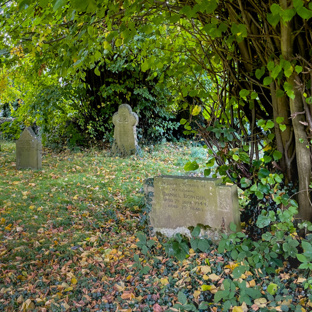"""""""Headstones, St Peter's Church, Hebden, Yorkshire Dales."""" stock image"""