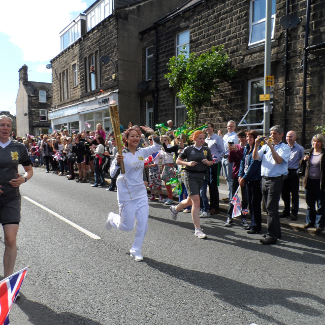 """Olympic Flame, Ilkley, Yorkshire,"" stock image"