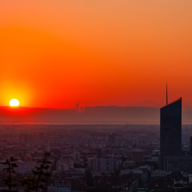 """Sunrise in Lyon, France"" stock image"